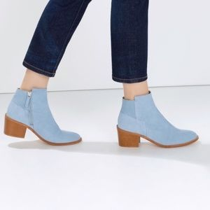 Zara Basic Baby Blue Suede Ankle Booties Size 6.5
